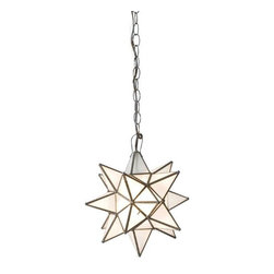 "Worlds Away - Worlds Away Frosted Glass Star Chandelier-Available in Three Different Sizes, Ex - This charming chandelier features a Moravian star pendant with frosted glass. The chandelier is available in three different sizes.  Each size has a single socket for a 60 watt max bulb and comes with 3 feet of antique brass chain and canopy. The Small measures 12"" in diameter, the Large is 15"" in diameter and the Extra-Large is 20"" in diameter."
