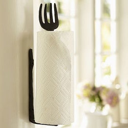 """Cucina Wall-Mount Wood Fork Paper Towel Holder - Give character to the kitchen with accessories that are soulfully crafted such as our towel holder, embellished with a vintage-style fork. 15"""" wide x 3.5"""" deep x 2.25"""" high Made of aluminum with a bronze finish. Mounting hardware included. Catalog / Internet only."""