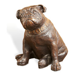 Kathy Kuo Home - Handsome Dan Antique Bronze Brass Bull Dog Sculpture - Adorable art sits obediently on his antique bronze back legs. Realistic details capture the inquisitive face and expressive eyes of a bulldog puppy. Use the beautiful brass piece as a delightful doorstop. Wherever he goes, this sculpture will inspire smiles.