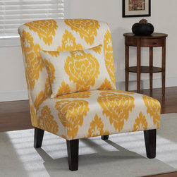 None - Anna Yellow Ikat Accent Chair - This lovely chair features a sunny countenance with its bright yellow and cream ikat pattern. The chair includes a matching pillow and stands on four solid hardwood legs in a rich espresso stain finish.