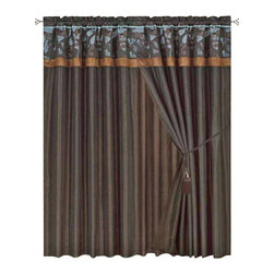 "Adriana Curtains 2 x Panels 60x84""ea. with Valance, 60x84+18 (2-Panels) - Curtain set Includes: 2 Panels 60""Wx84""L + 18"" Attached Valance"