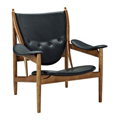 Finn Juhl Style Chieftains Chair in Black Leather