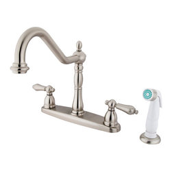"Kingston Brass - 8"" Center Kitchen Faucet with Non-Metallic Sprayer - VIctorian style Two Handle Deck Mount, Widespread 4 hole Sink application, Non-Metallic (ABS) Side Spray, Fabricated from solid brass material for durability and reliability, Premium color finish resist tarnishing and corrosion, 360 degree turn swivel spout, 1/4 turn On/Off water control mechanism, 1/2"" - 14 NPS male threaded inlets, Duraseal washerless valve, 2.2 GPM (8.3 LPM) Max at 60 PSI, Integrated removable aerator, 9-1/2"" spout reach from faucet body, 11"" overall height, Ten Year Limited Warranty to the original consumer to be free from defects in material and finish.; Plastic Sprayer Included; Brushed Nickel Finish; 1/4 Turn Washerless Cartridge; Metal Lever Handle; 4 Holes Installation with an 8-1/2"" spout reach; Material: Brass; Finish: Satin Nickel Finish; Collection: Heritage"