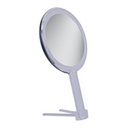 Zadro - Zadro 5X/1X Dual Magnification Hand Mirror-Zh06 - The Dual Magnification Hand Mirror offers a sleek design with two magnifications.  It features both 5X and 1X optical quality mirrors. The mirror includes a  detachable vanity stand for hands free application.