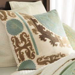 Suzani Embroidered Pillow Cover, Cool - Suzani typically feels a little more Old World, but this layout from Pottery Barn gives it a completely new graphic look. I could take two or three of these, please.