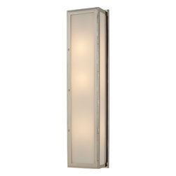 Mercer Long Box Light - Whether you're looking for a modern light fixture for the front porch or even the powder room, a long box light is a chic choice. The classic combination of polished nickel and white glass will cast a warm glow wherever it's mounted. Frame your front door or a large mirror for a contemporary look.