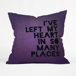 A Traveler's Heart Pillow Cover - We've all heard the old saying, but what if you've left a piece of yourself in too many towns to count? This soft violet cushion understands your love for so much of the world. Pair it with a favorite pattern on your sofa for style that reflects your fashionable free spirit.