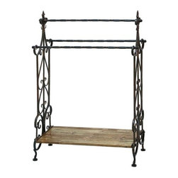 "BZBZ50403 - Traditional Wooden and Metal Towel Rack in Black Finish - Traditional wooden and metal towel rack in black finish. Add a stylish touch to your bathroom setting with this metal towel rack that makes an ideal choice of accessory for every household. It comes with a dimension of 41"" H x 28"" W x 13"" D."