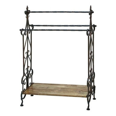 """BZBZ50403 - Traditional Wooden and Metal Towel Rack in Black Finish - Traditional wooden and metal towel rack in black finish. Add a stylish touch to your bathroom setting with this metal towel rack that makes an ideal choice of accessory for every household. It comes with a dimension of 41"""" H x 28"""" W x 13"""" D."""