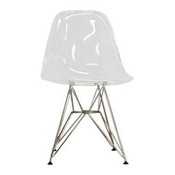 Wholesale Interiors Clear and Chromed Steel Side Chairs (Set of 2) - Set of 2 Accent Chairs