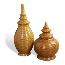 Interlude Home - Interlude Home Cardamon Canisters - These Interlude Home Canisters are crafted from Ceramic and finished in Dark Honey.  Overall sizes are: 10 in. W x  10 in. D x 24 in. H.  12 in.  in. W x  12 in.  in. D x  17 in. H.
