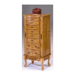 Bernards - Jewelry Armoire w Flip Up Mirror - 2 Swing-out doors with hooks. 7 Felt-lined working drawers. Made of wood. Measurements: 19 in. W x 13.75 in. D x 40.75 in. H