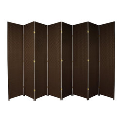 Oriental Furniture - 7 ft. Tall Woven Fiber Room Divider - Dark Mocha - 8 Panel - This seven foot tall room divider is built from natural plant fiber woven over a lightweight wooden frame. Ideal for bringing an earthy, serene feeling to any room, this tall screen is perfect for dividing a space or adding privacy to a room.