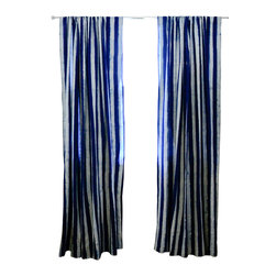 "Ichcha - Indigo Stripe Window Curtain, 96"" - The Panels are hand block printed and colored with natural dyes! The Stripes have a handmade feel to them with their mud resist printing technique. They can also be paired with our Toile curtains to create a unique setting in your home."