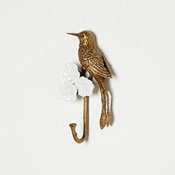 "Anthropologie - Hummingbird Hook - Hardware requiredPorcelain, bronze10""H, 7""W3.5"" projectionImported"