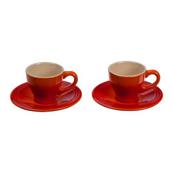 Le Creuset - Le Creuset Espresso Cups and Saucers, Set of 2 - The espresso set, with its two cups and two saucers, is perfect for sharing an afternoon pick-me-up. Featuring