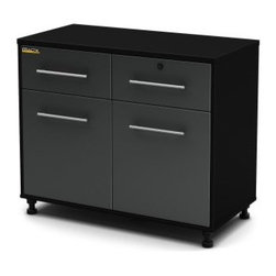 South Shore Karbon Base Storage Cabinet - Pure Black / Charcoal - About South Shore FurnitureA recognized leader in North American furniture manufacture South Shore Industries was established in 1940 and has been making furniture for three generations. Employing a team of over 1 000 employees in three factories in Quebec their assembled and ready-to-assemble furniture has a reputation for quality and excellence at affordable prices for today's family. Karbon Storage This Karbon Base Storage Cabinet in Pure Black and Charcoal finish part of South Shore's Practik line is especially designed for the garage or basement organization. Its melamine top surface is scratch-resistant to meet the needs of a work surface. It comes with 2 handy drawers equipped with full-extension slides 1/2-inch thick bottom and stylish nickel finish metal handle. In addition 1 drawer has safety lock and key providing additional security. It also features 2 storage spaces behind the doors separated by one adjustable shelf that can sustain up to 50 pounds enhanced with highly resistant support hardware. As a plus the legs are adjustable for uneven floors. Combine it with the rest of the Karbon collection to convert a cluttered room into a clean storage space where everything is easy to find. It measures 39-1/2-inch wide by 19-1/2-inch deep by 30-inch high. It is delivered in 1 box measuring 68-1/2-inch by 20-1/2-inch by 5-inch and weighing 119 pounds. Accessories not included. Manufactured from certified Environmentally Preferred laminated particle panels. Complete assembly required by 2 adults. Tools are not included. 5-year limited warranty.
