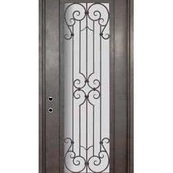 """Milano 42x96 Wrought Iron Single Door 14 Gauge Steel - """"SKU#PHBFMSR4-42BrandGlassCraftDoor TypeExteriorManufacturer CollectionBuffalo Forge Steel DoorsDoor ModelMilanoDoor MaterialSteelWoodgrainVeneerPrice4500Door Size Options  $Core Typeone-piece roll-formed 14 gauge steel doors are foam filled  Door StyleTraditionalDoor Lite StyleFull LiteDoor Panel StyleHome Style MatchingMediterranean , Victorian , Bay and Gable , Plantation , Cape Cod , Gulf Coast , ColonialDoor ConstructionPrehanging OptionsPrehungPrehung ConfigurationSingle DoorDoor Thickness (Inches)1.5Glass Thickness (Inches)Glass TypeDouble GlazedGlass CamingGlass FeaturesInsulated , TemperedGlass StyleGlass TextureClear , Glue Chip , RainGlass ObscurityDoor FeaturesDoor ApprovalsWind-load RatedDoor FinishesThree coat painting process"""