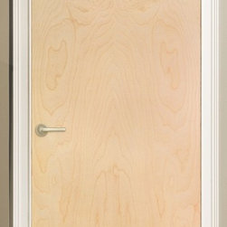 Low cost interior door option for loft make-overs - A flush door with an uncluttered appearance and a rich, natural wood veneer is the perfect offset to painted jamb/case/base/cove. Here: uniform light birch. Real wood, a no VOC finish and complementary for newly renovated decor with either painted or stained wood trim.