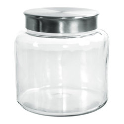 Anchor Hocking - 1.5gal Mod Montan Jar Flat Lid - Clear Glass 1.5 Gallon Modern Montana Jar with Flat Stainless Lid.