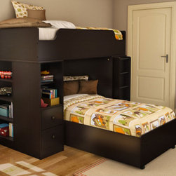 South Shore - Logik Twin over Twin L-Shaped Bunk Bed with Desk - This modern Logik Loft Bunk Bed will look wonderful in your child's bedroom. With a desk and storage space you can keep their bedroom tidy, as well as stylish. This Loft Bunk Bed will be the perfect storage piece your son or daughter will immediately fall in love with. Features: -Constructed of engineered Wood. -Storage unit has a number of shelves for books and other items. -Desk is the perfect place to study. -5 year manufacturer's limited warranty. Protecting our Environment for Generations to Come! South Shore Furniture is proudly taking a stand on its environmental positioning and is supporting its words with very concrete actions and a vision for a healthy future.Current actions include: -Improved packaging ? Our new packaging use 60% less non-biodegradable materials. -Energy efficiency ? Yearly, 5 to 6 tons of wasted paneling are converted into energy used internally. -Environmentally Preferable Product (EPP) certification ?Already meeting the very strict 2009 California Formaldehyde Regulations. -Greener communication tools ? Reduced format on recycled paper and conversion to electronic format. -A Green Future in mind:a member of the Composite Panel Association whose mission is to work towards more ecological and environment-friendly panel solutions.