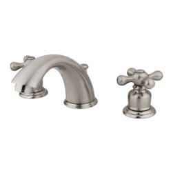"""Kingston Brass - Two Handle 8"""" to 16"""" Widespread Lavatory Faucet with Retail Pop-up KB978X - Two Handle Deck Mount, 3 Hole Sink Application, 8"""" to 16"""" Widespread, Fabricated from solid brass material for durability and reliability, Premium color finish resists tarnishing and corrosion, 1/4 turn On/Off water control mechanism, 1/2"""" IPS male threaded inlets with rigid copper piping, Duraseal washerless cartridge, 2.2 GPM (8.3 LPM) Max at 60 PSI, Integrated removable aerator, 5-3/4"""" spout reach from faucet body, 4"""" overall height.. Manufacturer: Kingston Brass. Model: KB978X. UPC: 663370001529. Product Name: Two Handle 8"""" to 16"""" Widespread Lavatory Faucet with Retail Pop-up. Collection / Series: Victorian. Finish: Satin Nickel. Theme: Classic. Material: Brass. Type: Faucet. Features: Drip-free washerless cartridge system"""