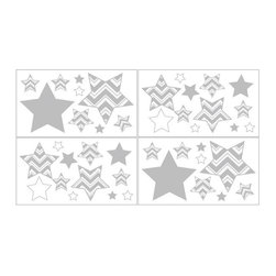 Sweet Jojo Designs - Wall Decal Stickers for Gray ZigZag Chevron - Removable Wall Decals for the Gray and Turquoise Zig Zag Collection by Sweet Jojo Designs will add a fun and colorful touch to any bedroom. These wall decals make great gifts! Enhance your room decor and create an interesting and stimulating environment with these great wall decals. Each Set of Decals Feature: 4 sheets, 18 in. x 10 in. each. Easy peel and stick backing. Repositionable. Won't harm walls. Coordinates with Sweet Jojo Designs bedding. *NOTE: These decals are intended for standard flat wall finishes and may not adhere completely to a textured wall. Please consult a professional if you are working with a non-standard wall finish.