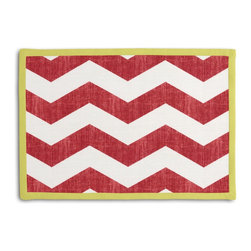 Red & White Chevron Tailored Placemat Set - Class up your table's act with a set of Tailored Placemats finished with a contemporary contrast border. So pretty you'll want to leave them out well beyond dinner time! We love it in this graphic chevron in a washed berry red & ivory on lightweight linen adds a punch of color to the contemporary home.
