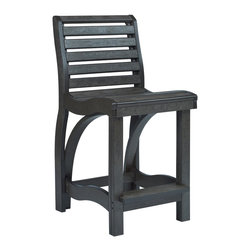 C.R. Plastic Products - C.R. Plastics St Tropez Counter Chair in Black - Can be used for residential or commercial use, Ergonomically designed, Heavy 78 gauge plastic lumber 12 used by competitors, All stainless steel hardware, No painting, No slivers, No Rot, Completely waterproof