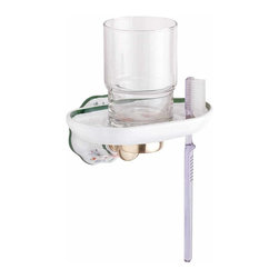 "Renovators Supply - Toothbrush Holders White/Green/Ceramic Toothbrush/Tumbler Holder | 18326 - This toothbrush and tumbler holder is crafted of fine white porcelain with Renovators Supply finished brass trim. In addition to a beautiful ribbed pattern- the backplates have a lovely green floral design that will bring color to any bath. 2-3/4 in x 5-1/2 in. It's backplate projects 1-3/4"" from the wall. Tumbler not included."