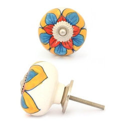 """Potteryville - Ceramic Knobs, Red,Turquoise and Yellow Design - Red,Turquoise and Yellow Colored design Ceramic knob, perfect for your kitchen and bathroom cabinets! The knob is 1.8"""" in diameter and includes screws for installation."""