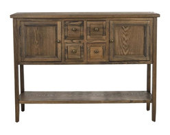 Safavieh Furniture - Sideboard in Oak Finish - Four drawers. Two doors. One shelf. No assembly required. 46 in. W x 15 in. D x 34 in. H (22 lbs.)Unique features add practicality to this writing desk.
