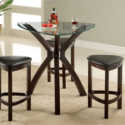 Furniture of America - Furniture of America Xani 4-piece Modern Tempered Glass Counter Height Table Set - Perfect for small kitchen or breakfast nook. this 4-piece counter height table set features curvy modern geometric shapes complemented by tempered glass table top. Three padded leatherette stools accompany this set.