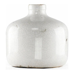 Zentique - Crackled Jar, Medium - The Crackled Jar features a white crackled pattern with a ceramic finish.