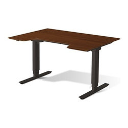 "Jesper Office Furniture - 100 Series Height Adjustable 65"" Sit-Stand Desk in Cherry - Features:"