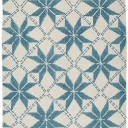 Maya Printed Dhurrie by John Robshaw - This blue and white star motif dhurrie was hand blocked in the same manner as other fabrics. Why shouldn't your floors be allowed to get in on this striking global style?