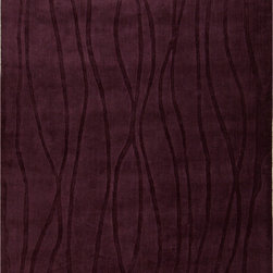 "Surya - Surya Wave WVE-1002 (Prune Purple) 2'6"" x 8' Rug - This Hand Loomed rug would make a great addition to any room in the house. The plush feel and durability of this rug will make it a must for your home. Free Shipping - Quick Delivery - Satisfaction Guaranteed"