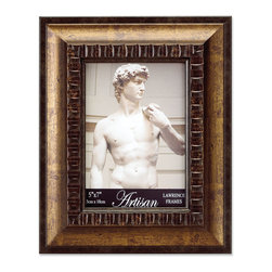 Lawrence Frames - Carved Roman Bronze 5x7 Picture Frame - A classic wide profile Roman bronze frame with classic old world architecture pattern around the inside edge.  This composite frame has a rich and lustrous bronze finish.  High quality black velvet backing with an easel for vertical or horizontal table top display, and hangers for vertical or horizontal wall mounting.    Heavy weight 5x7 composite picture frame is made with exceptional workmanship and comes individually boxed.