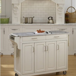 "Home Styles - Create-A-Cart Kitchen Cart with Marble Top - Home Styles Create-a-cart with a .75"" finished top features solid wood construction, and four cabinet doors that open to storage. Features: -Adjustable shelves inside.-Four cabinet doors that open to storage.-Handy spice rack with towel bar, paper towel holder, and heavy duty locking rubber casters for easy mobility and safety.-Create-A-Cart collection.-Product Type: Kitchen Cart.-Collection: Create-a-Cart.-Counter Finish: Marble.-Hardware Finish: Brushed Steel.-Distressed: No.-Powder Coated Finish: No.-Gloss Finish: No.-Base Material: Wood.-Counter Material: Marble.-Hardware Material: Brushed steel.-Solid Wood Construction: Yes.-Number of Items Included: 1.-Water Resistant or Waterproof Cushions: No.-Stain Resistant: No.-Warp Resistant: No.-Exterior Shelves: No.-Drawers Included: Yes -Number of Drawers: 2.-Push Through Drawer: No..-Cabinets Included: Yes -Number of Cabinets : 3.-Double Sided Cabinet: No.-Adjustable Interior Shelves: Yes.-Number of Doors: 4.-Locking Doors: No.-Door Handle Design: Linear pulls..-Towel Rack: Yes -Removable Towel Rack: No..-Pot Rack: No.-Spice Rack: Yes .-Cutting Board: No.-Drop Leaf: No.-Drain Groove: No.-Trash Bin Compartment: No.-Stools Included: No.-Casters: Yes -Locking Casters: Yes.-Removable Casters: No..-Wine Rack: No-Removable Wine Rack: No..-Stemware Rack: No.-Cart Handles: No.-Finished Back: Yes.-Commercial Use: No.-Recycled Content: No.-Eco-Friendly: No.-Product Care: Clean with a damp cloth.Specifications: -ISTA 3A Certified: Yes.Dimensions: -Overall Height - Top to Bottom: 34.75"".-Overall Width - Side to Side: 48.75"".-Overall Depth - Front to Back: 17.75"".-Width Without Side Attachments: 44.5"".-Countertop Thickness: 0.75"".-Countertop Width - Side to Side: 44.5"".-Countertop Depth - Front to Back: 17.5"".-Shelving: -Shelf Width - Side to Side (Side Shelves) : 8.5"".-Shelf Width - Side to Side (Center Shelves) : 18"".-Shelf Depth - Front to Back: 14.5""..-Leaf: No.-Drawer: -Drawer Interior Height - Top to Bottom: 1.5"".-Drawer Interior Width - Side to Side: 16.5"".-Drawer Interior Depth - Front to Back: 13.5""..-Cabinet: -Cabinet Interior Height - Top to Bottom: 23.5"".-Cabinet Interior Width - Side to Side (Side Cabinets) : 8.5"".-Cabinet Interior Width - Side to Side (Center Cabinet) : 18"".-Cabinet Interior Depth - Front to Back: 14.5""..-Overall Product Weight: 116 lbs.Assembly: -Assembly Required: Yes.-Tools Needed: Phillips screwdriver.-Additional Parts Required: No.Warranty: -Product Warranty: Vendor replaces parts for 30 days."