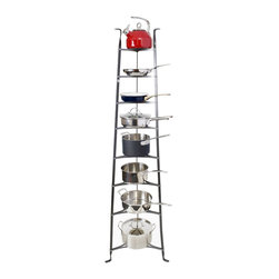 """Enclume - 8 Tier Cookware Stand Hammered Steel - Dimensions: 19.5"""" W x 16.5"""" D x 68"""" H"""