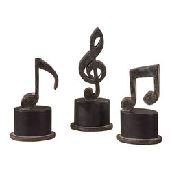 Uttermost Music Notes Metal Figurines, Set/3 - Aged black with a tan glaze and matte black accents. Hand forged metal finished in aged black with a tan glaze and matte black accents. Sizes: sm-5x11x3, med-5x12x3, lg-5x12x3