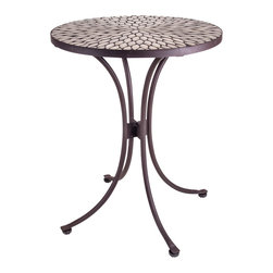 New Rustics - New Rustics Mosaic Round Table Speckled Hen in Wrought Iron - This new collection brings an artsy street-style cafe look to any outdoor living space. Handmade with wrought iron and unusual handcut rustic slate, pebbles, and glazed tile inlay patterns, these pieces also compliment indoor decor with natural colors and streamlined designs.