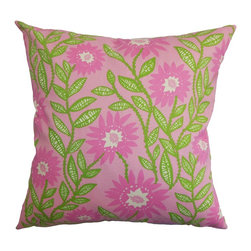 "The Pillow Collection - Leena Floral Pillow Pink 18"" x 18"" - This gorgeous throw pillow is a brilliant way to redecorate your home. This accent pillow comes with a very affordable price plus its made of 100% soft and high-quality cotton material. Decorated with a pretty floral pattern in shades of pink and green, this decor pillow is a stunning statement piece. The 18"" plush pillow can be used in various settings and styles. Hidden zipper closure for easy cover removal.  Knife edge finish on all four sides.  Reversible pillow with the same fabric on the back side.  Spot cleaning suggested."