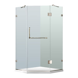 """VIGO Industries - VIGO 36 x 36 Frameless Neo-Angle 3/8"""" Shower, With Low-Profile Base - Both dramatic and space-saving, the VIGO frameless neo-angle shower enclosure with Low-Profile Base creates a beautiful focal point for your bathroom."""