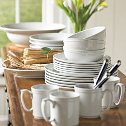Williams-Sonoma Pantry Dinnerware - Williams-Sonoma Pantry Dinnerware is perfect: simple, clean, easy to dress up, just right for a casual lunch. When you have a small space you need just one set of good dishes, and these fit the bill without breaking the bank.
