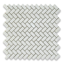 "Stone Center Corp - Thassos White Marble Herringbone Mosaic Tile 5/8 x 1 1/4 Honed - Thassos white marble 5/8"" x 1 1/4"" pieces mounted on 12"" x 12"" sturdy mesh tile sheet"