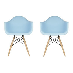 Ariel - S/2 Eames Style Molded Light Blue Plastic Dining Armchair W/ Wood Eiffel Legs - A true modern classic design, this classic dining armchair with wood Eiffel legs remains popular today in cafes, home offices, and dining areas. Sporting a clean, simple, retro, yet modern design sculpted to fit the body, this gorgeous armchair is the perfect addition to the home or office. Available in white, black, or light blue.