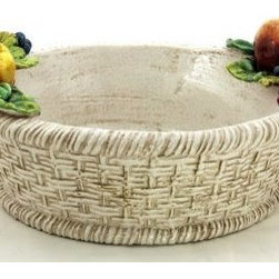 Artistica - Hand Made in Italy - ROBBIANA: Round basket w/Fruits - ROBBIANA Collection: Our Robbiana pieces are created from original hand-carved molds, and painstakingly hand painted in the classic technique originated by the Della Robbia Florentine dynasty, a family of sculptors and ceramists active from the 15th to the 16th century.