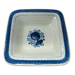 "Royal Copenhagen - Royal Copenhagen Tranquebar-Blue 10"" Square Vegetable Bowl - Royal Copenhagen Tranquebar-Blue 10"" Square Vegetable Bowl"