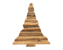 Barn Wood Christmas Tree, Large - This delightfully rustic Christmas tree is made from reclaimed barn wood salvaged from barns in rural Missouri. The branches can be swiveled for an infinite variety of looks. Great as a stand alone piece or use to display Christmas lights and ornaments.
